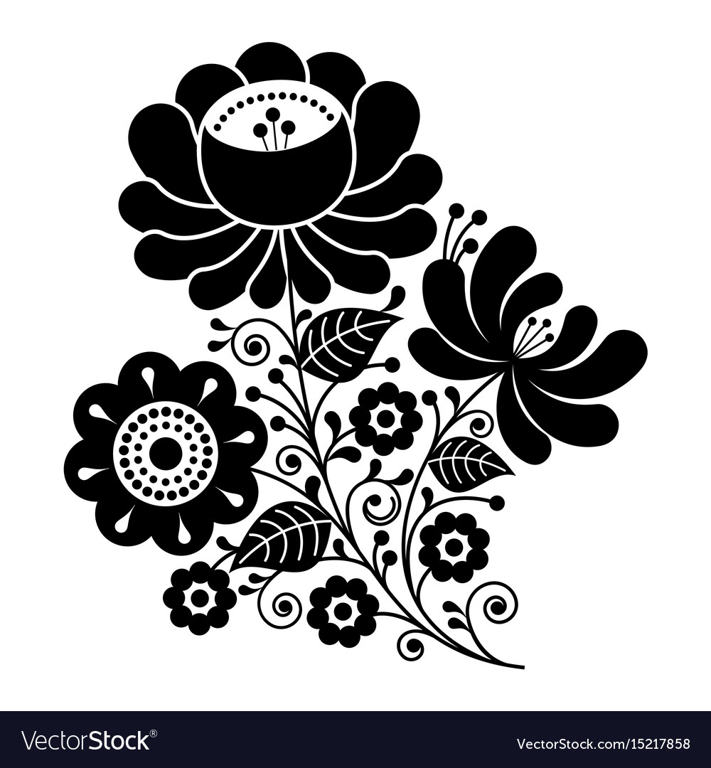 Russian design folk art black and white flowers vector image mightylinksfo