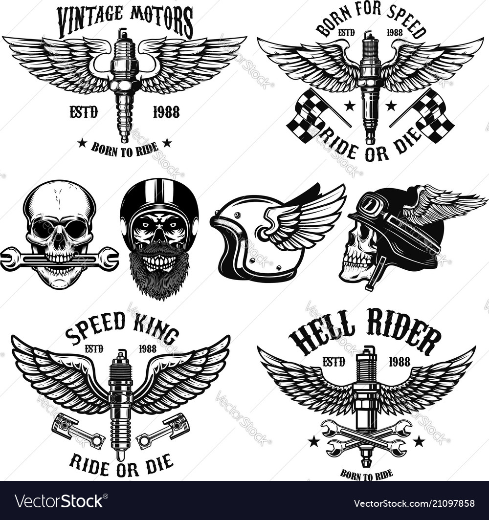 Set of biker emblems with winged spark plugs
