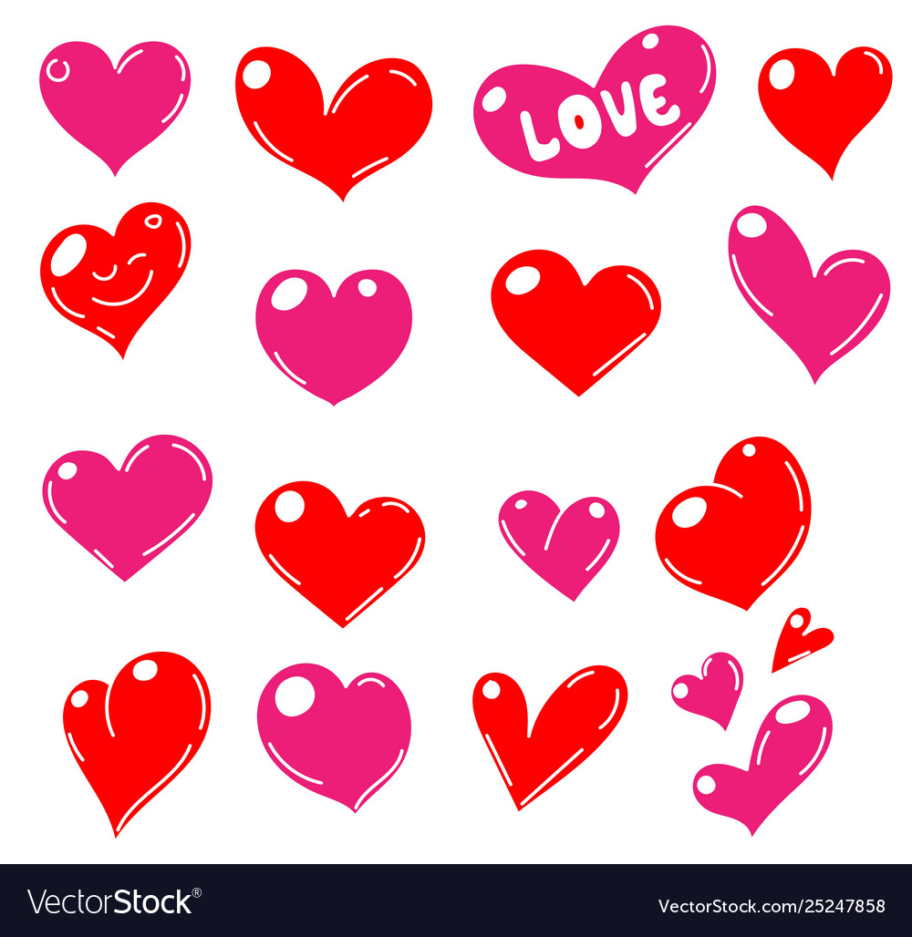 Set red hearts icons
