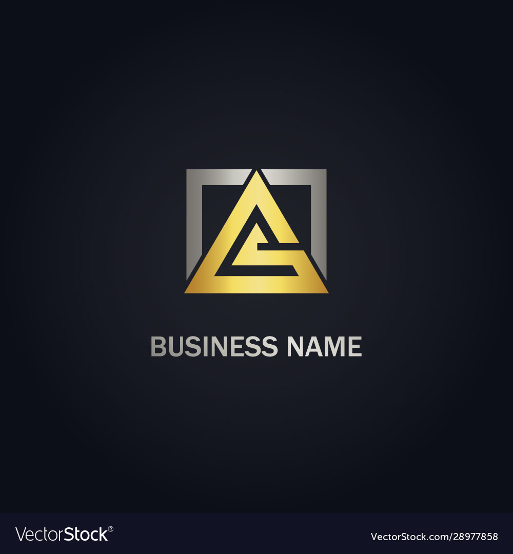 Square triangle shape line gold logo
