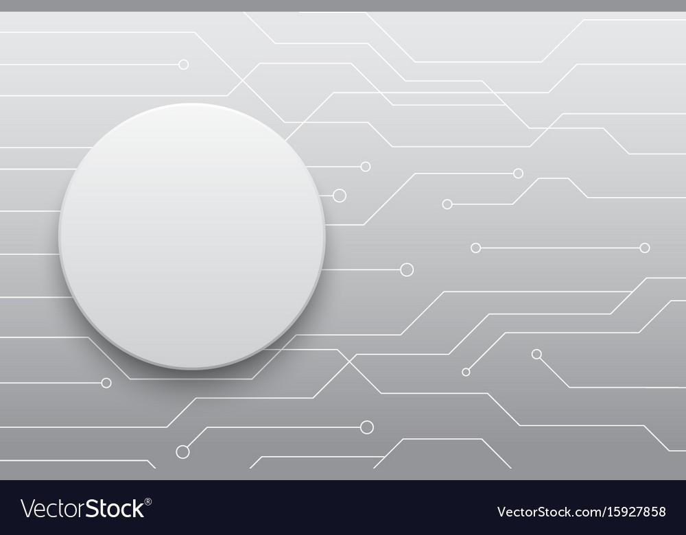 Technology future white circle button circuit
