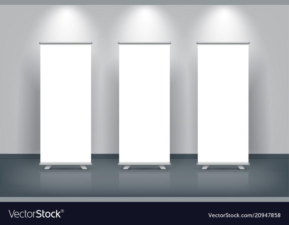 White blank vertical roll up banner