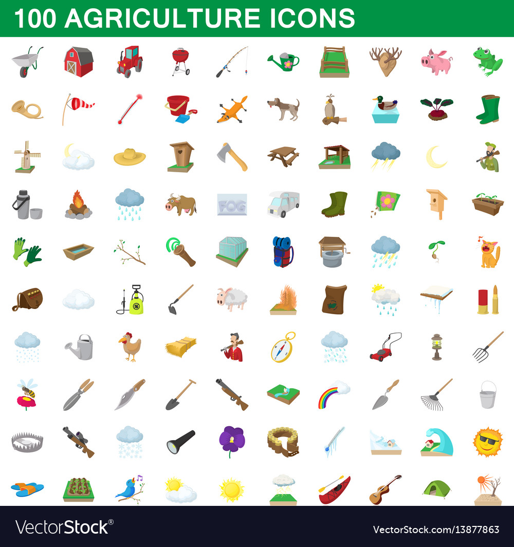 100 agriculture icons set cartoon style