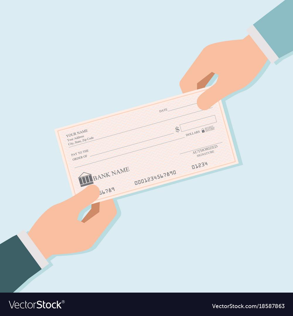 Businessman hand giving blank bank checks or