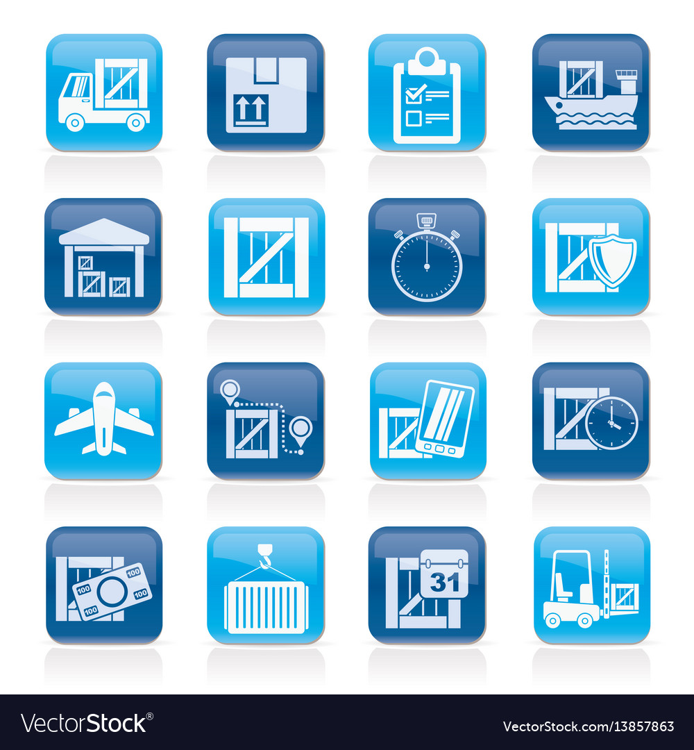 Cargo shipping logistics and delivery icons