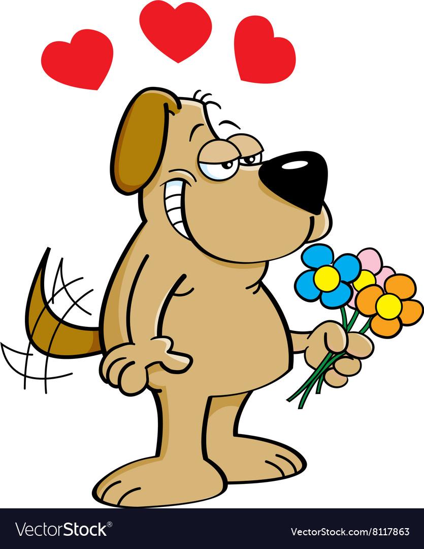 Cartoon dog holding flowers