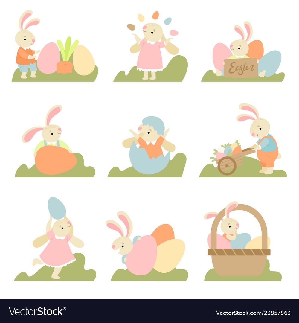 Collection of cute bunnies with colorful eggs