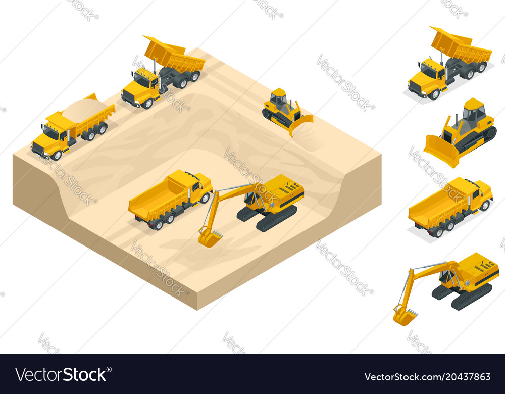 Isometric excavators and bulldozers dig a pit on vector image