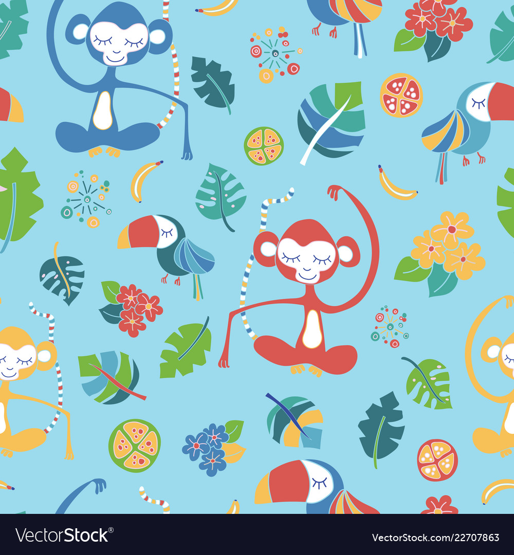 Meditating monkeys and toucans blue pattern