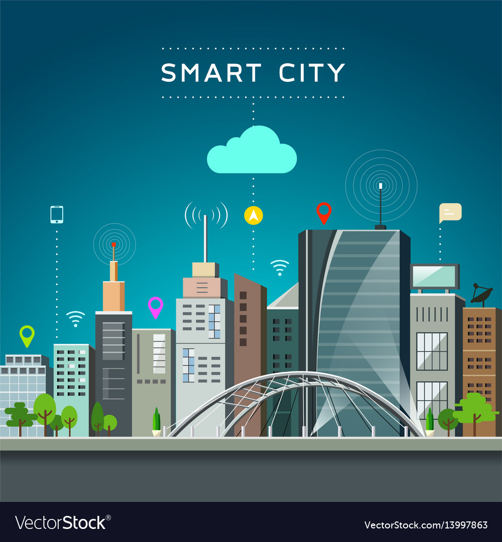 Modern building and landmark smart city