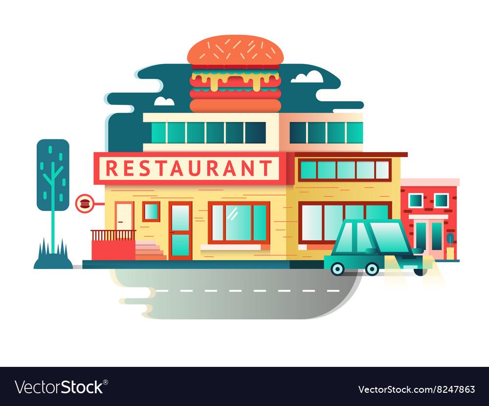 Restaurant building flat design vector image