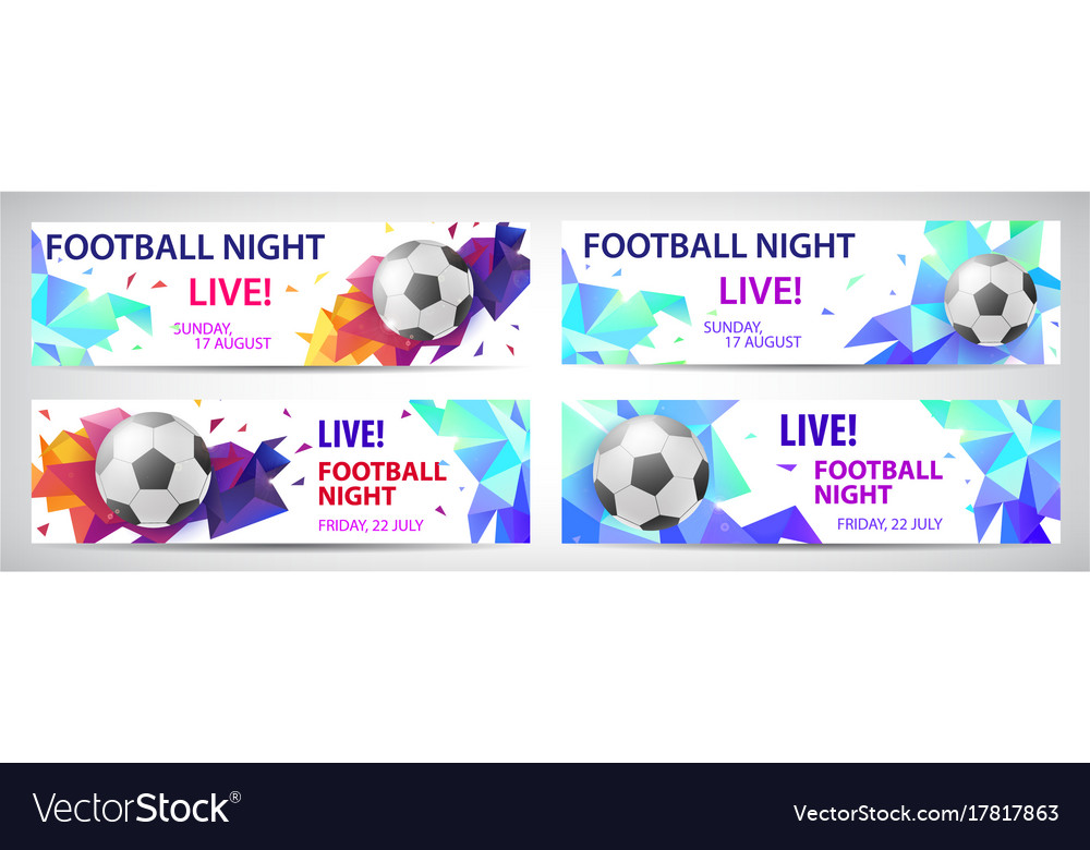 Set of sport football banners live matches
