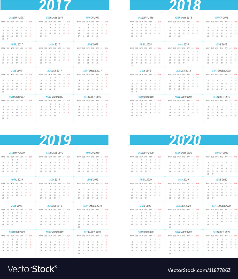Simple calendar for next four years