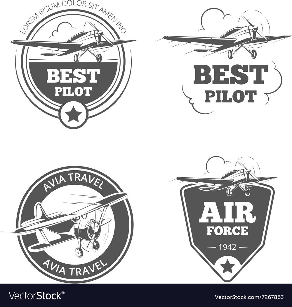 Vintage biplane and monoplane emblems set