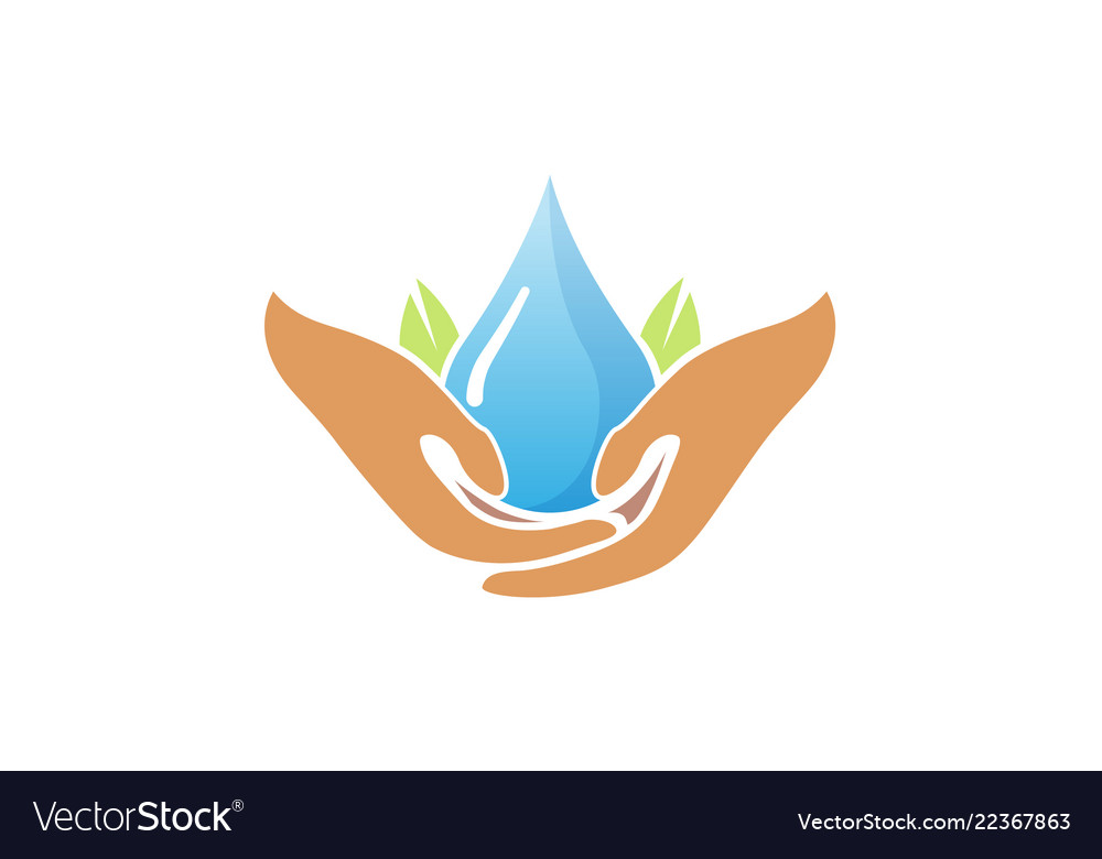 Water care hands holding drop logo