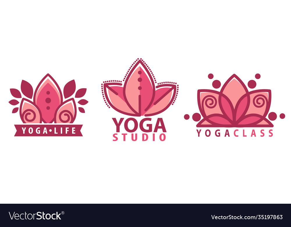 Yoga studio lotus flower inscription logotype