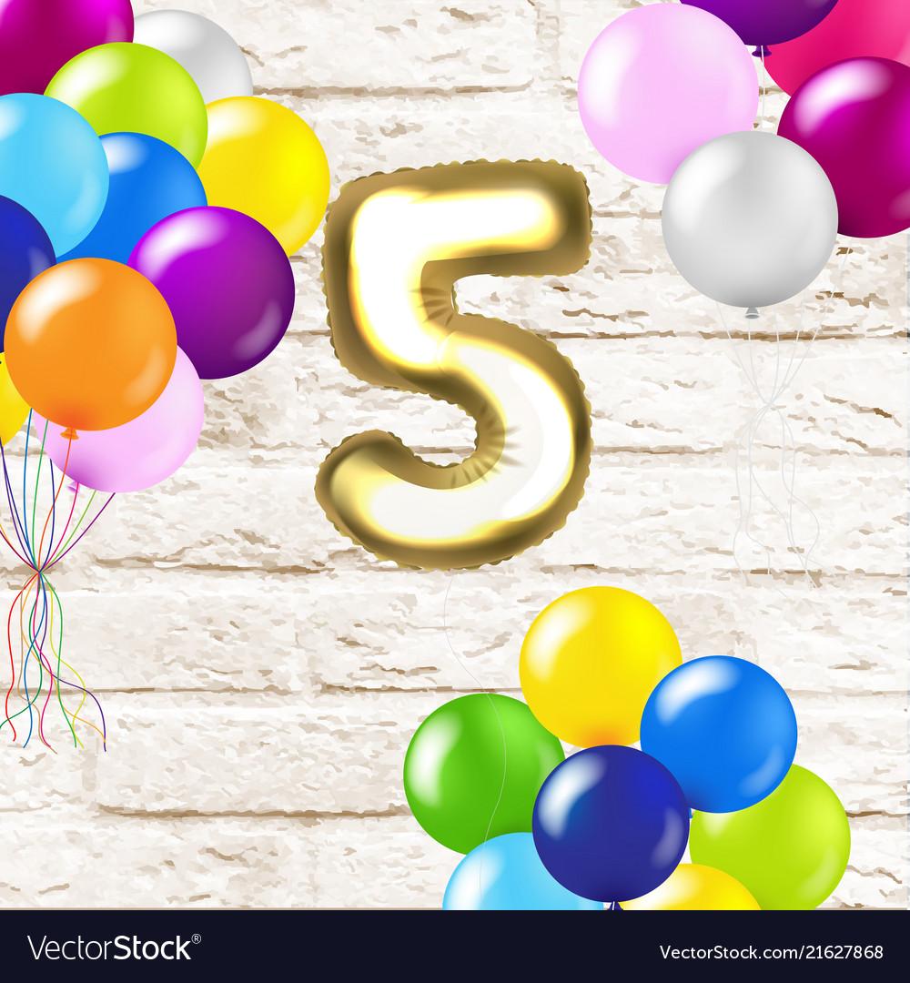 Birthday 5 years card with brick wall