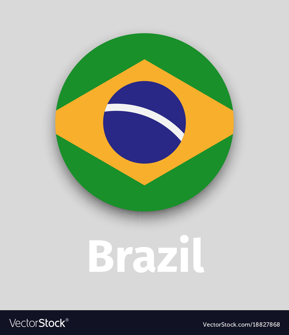 Brazil flag round icon with shadow