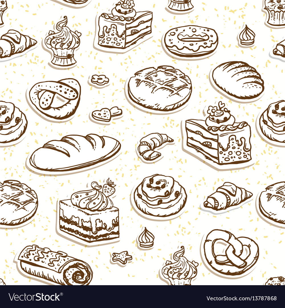Bread and pastry seamless pattern in brown color