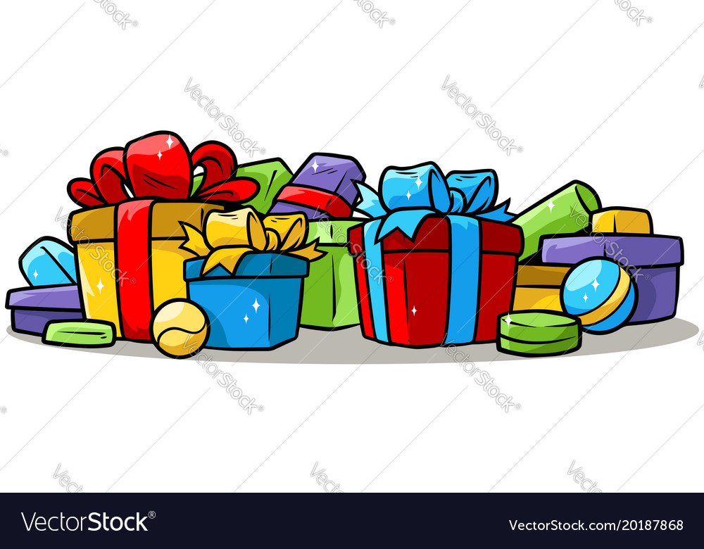 Cartoon colored presents and gift boxes