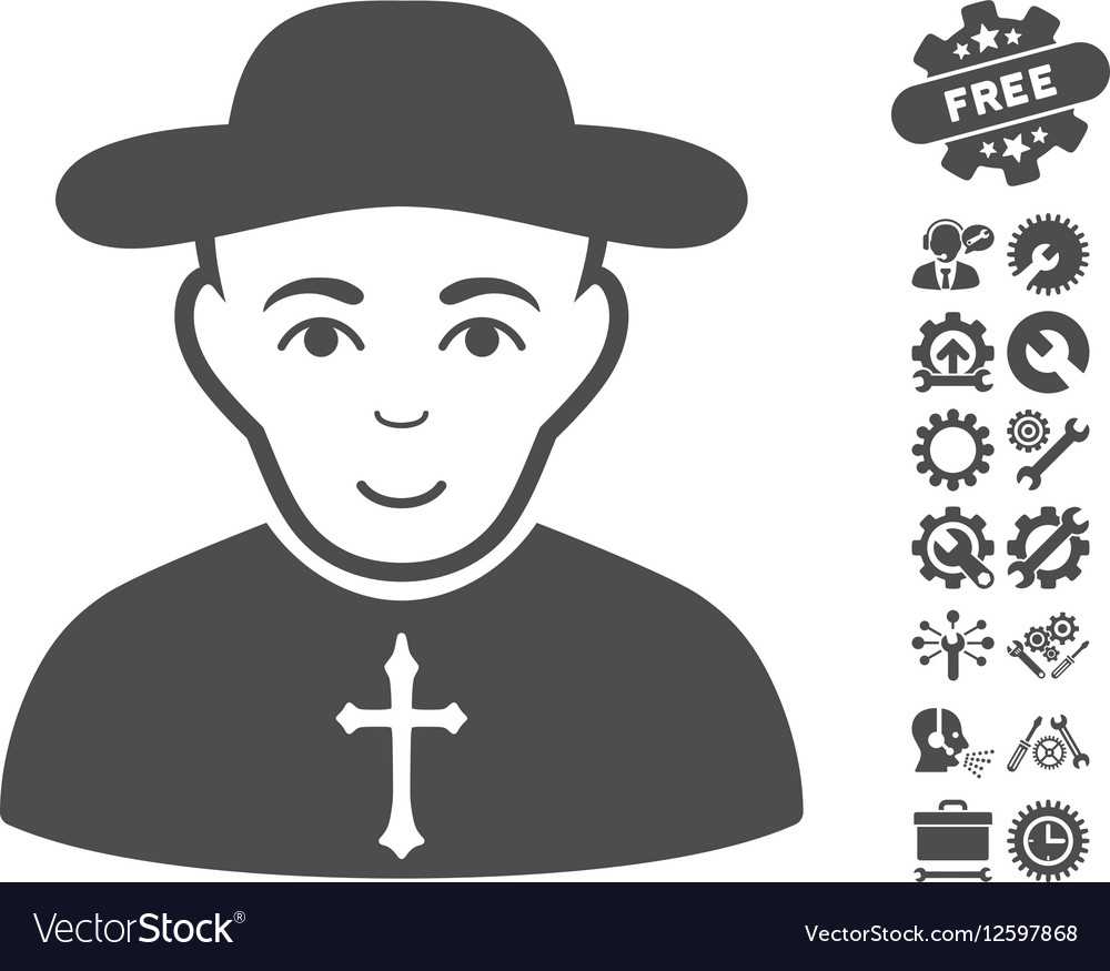 Christian Priest Icon With Tools Bonus vector image