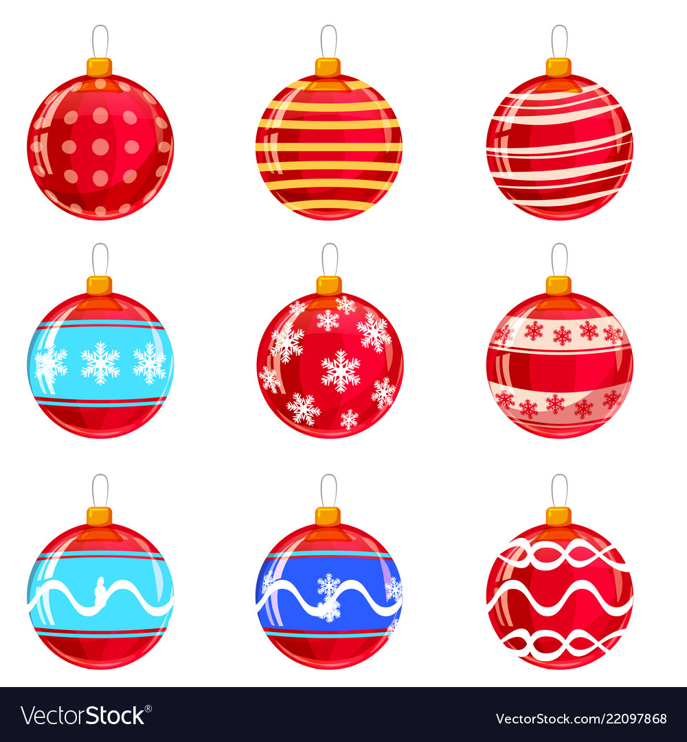 Colorfull christmas balls with ornaments