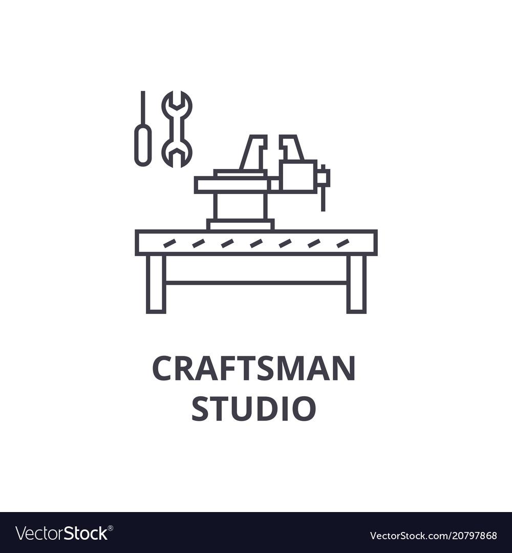 Craftsman studio line icon sign