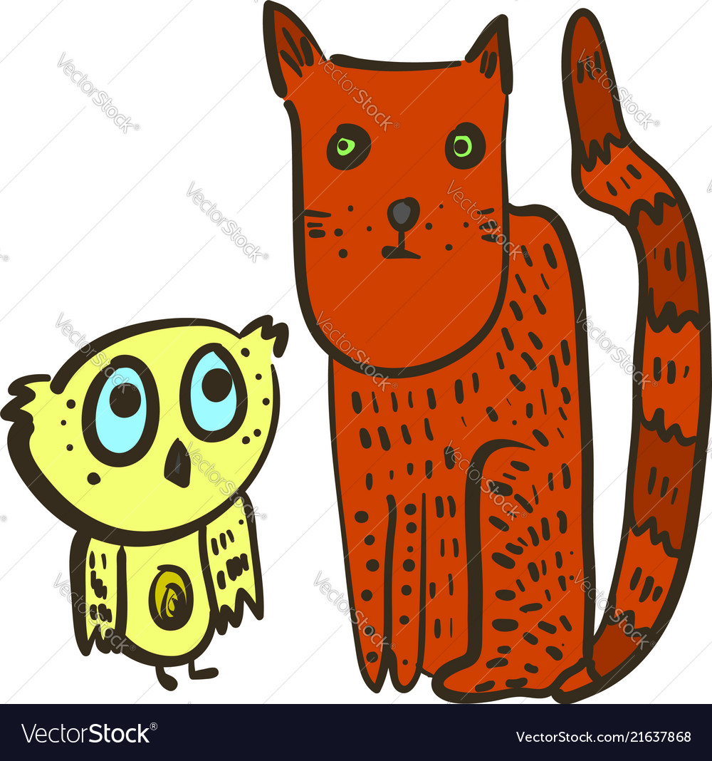 Cute with confused owl and red cat