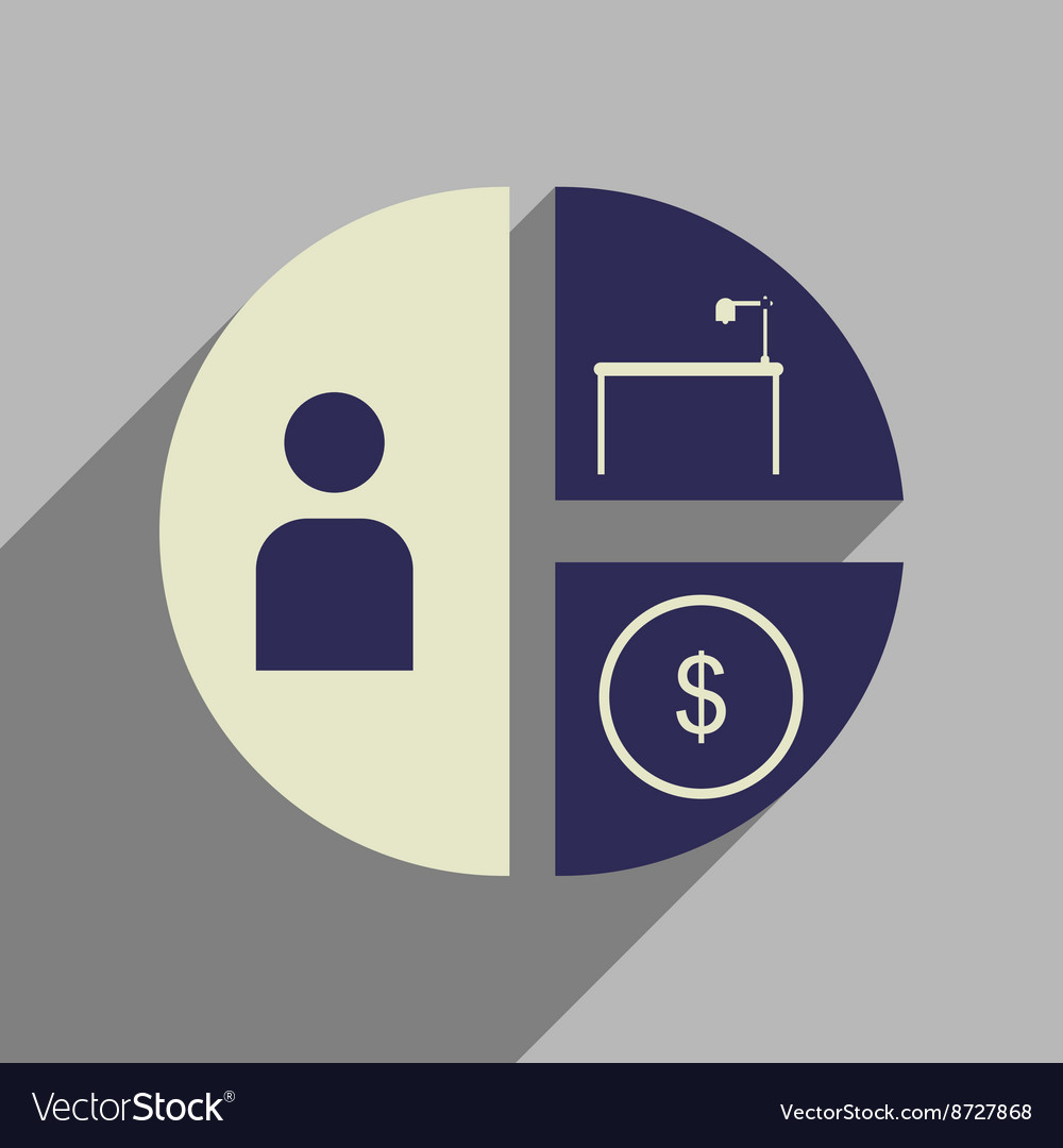 Flat web icon with long shadow time money chart