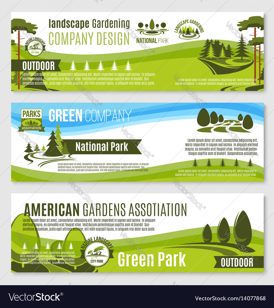 Gardening or green landscape design banners