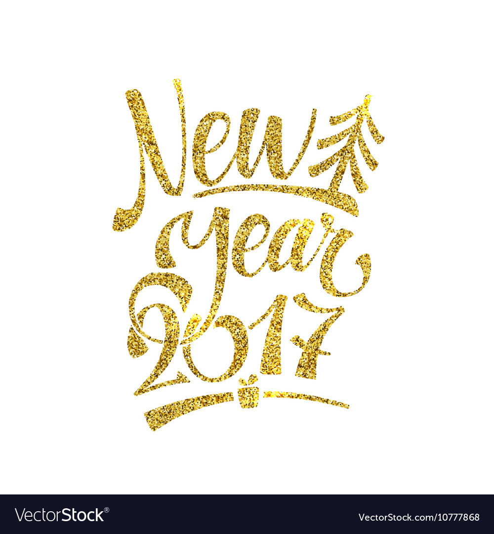 gold happy new year card golden shiny glitter vector image