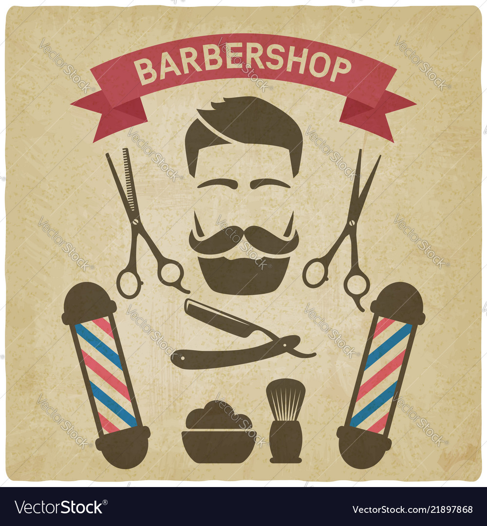 Male face with barbershop tools vintage background