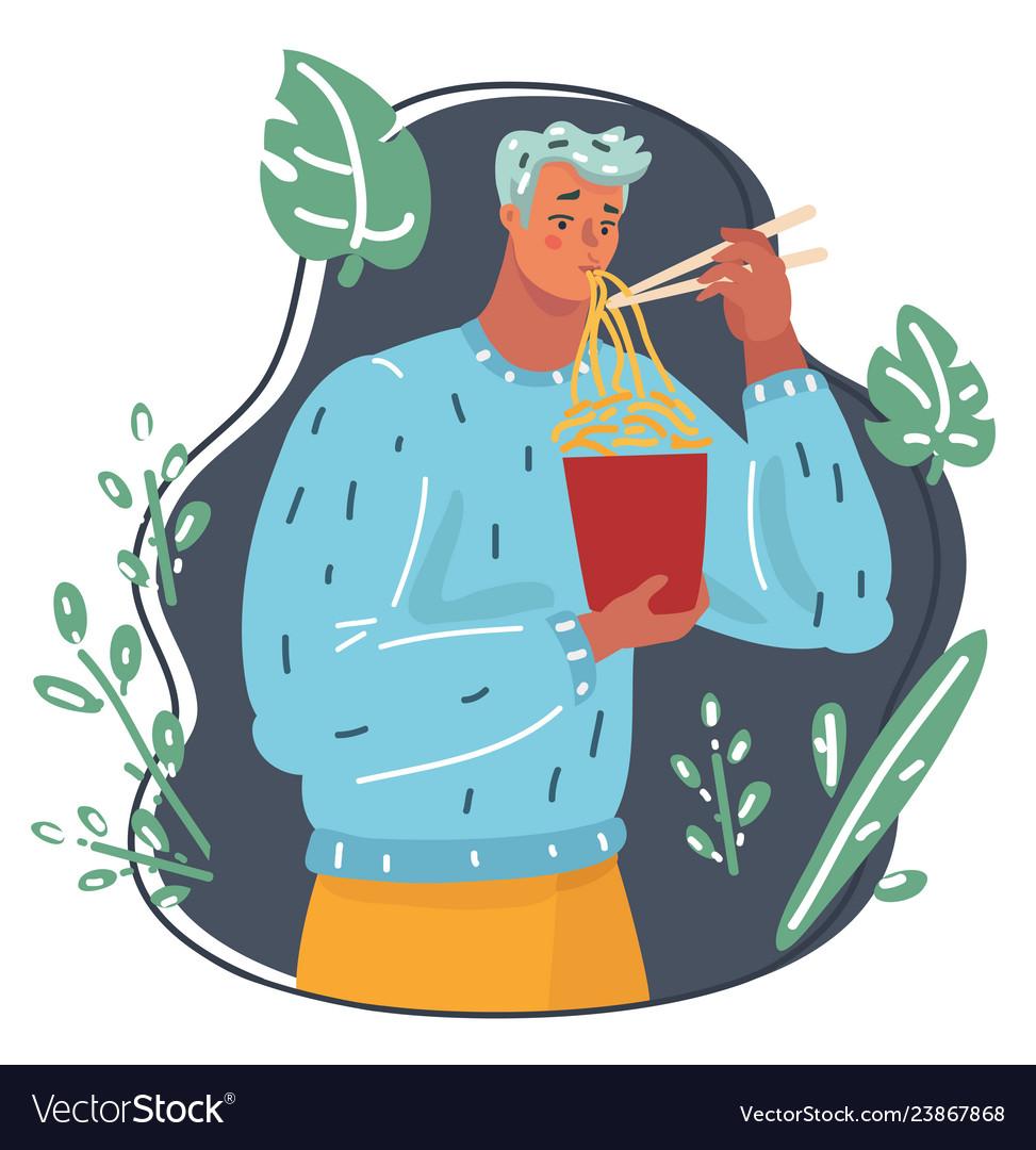 Man eating noodles using chopstick