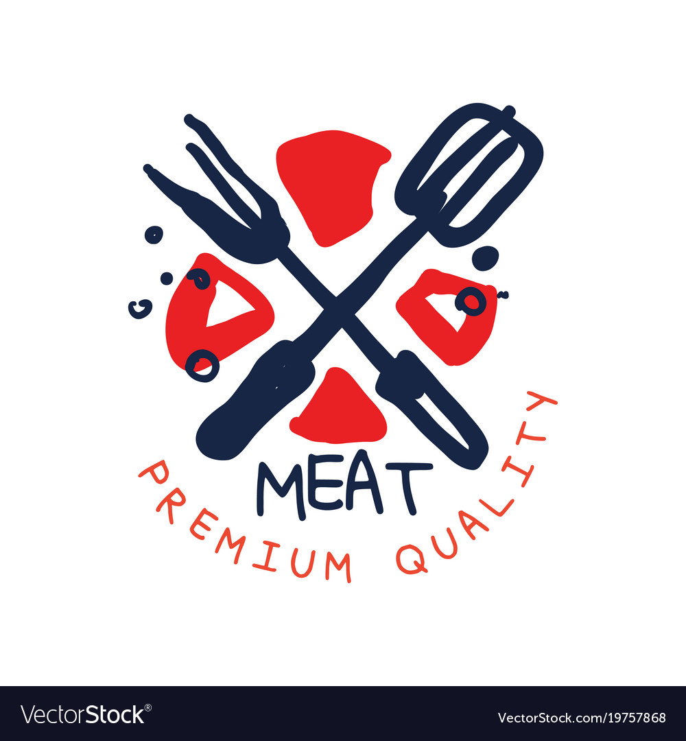 Meat premium quality logo template vintage label Vector Image