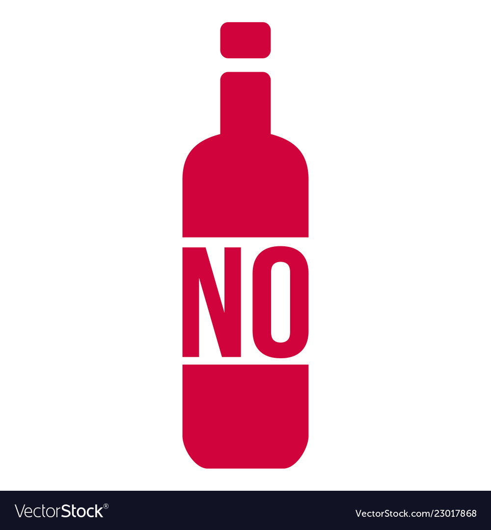 No alcohol sign with bottle isolated on white