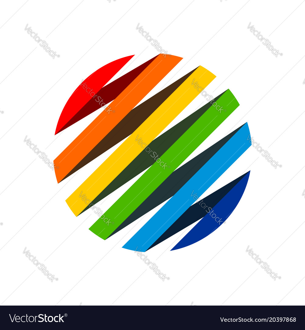 Rainbow ribbon circular shape symbol logo design