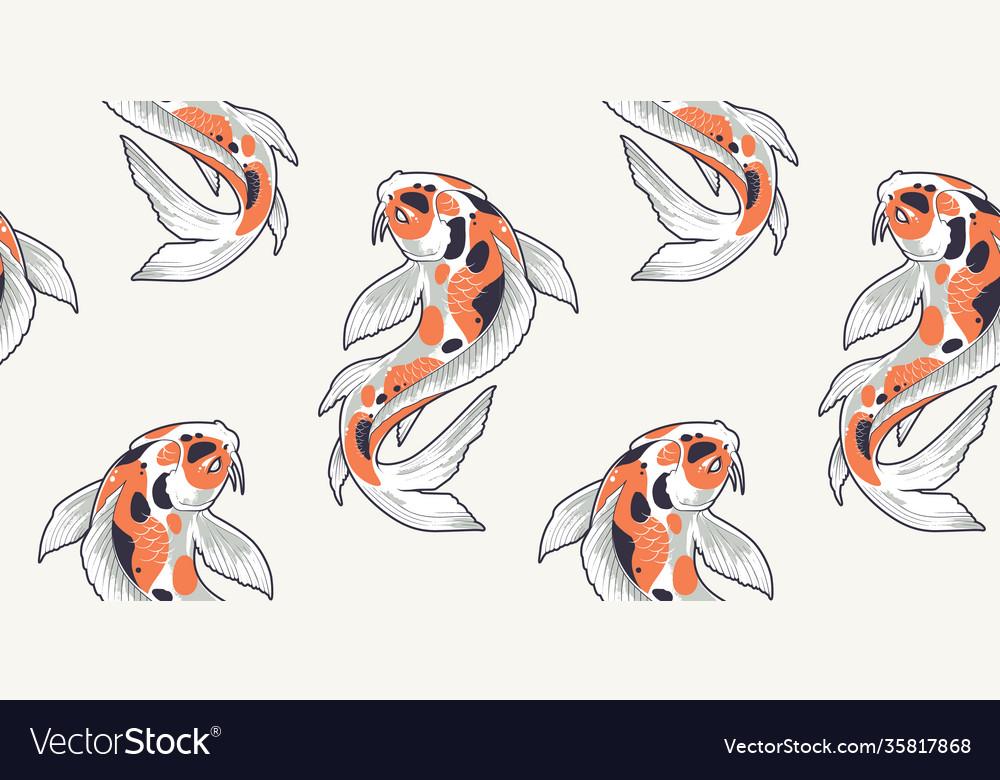 Seamless pattern with koi fish
