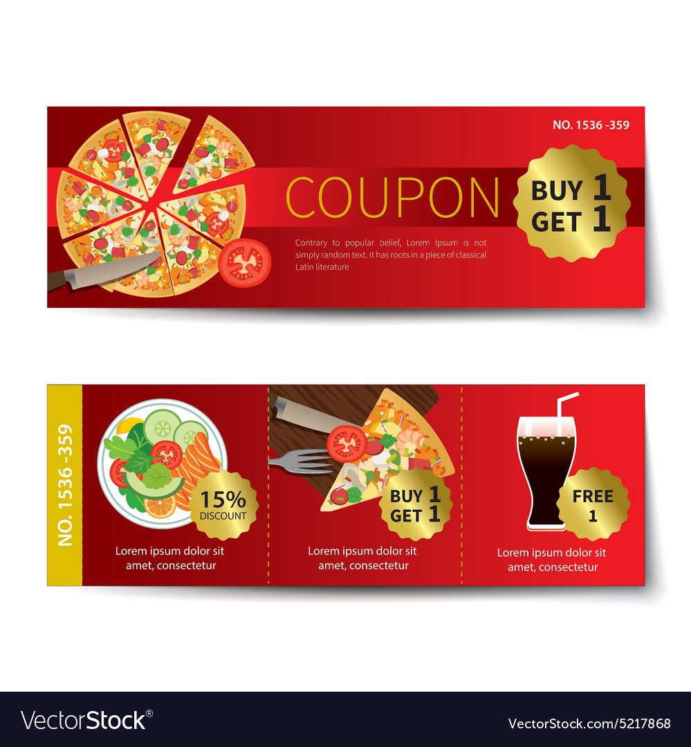 Set of food coupon discount template design vector image