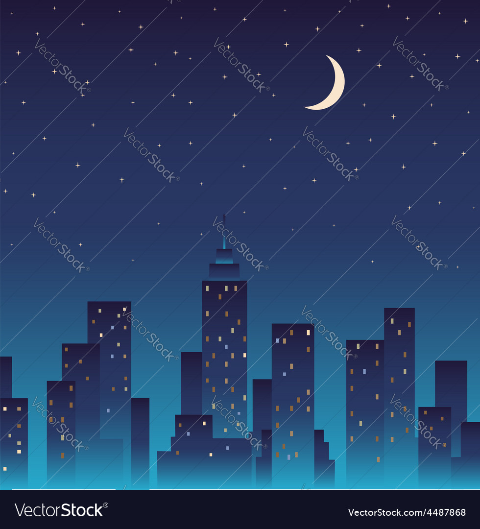 Silhouette of the city and night with stars moon