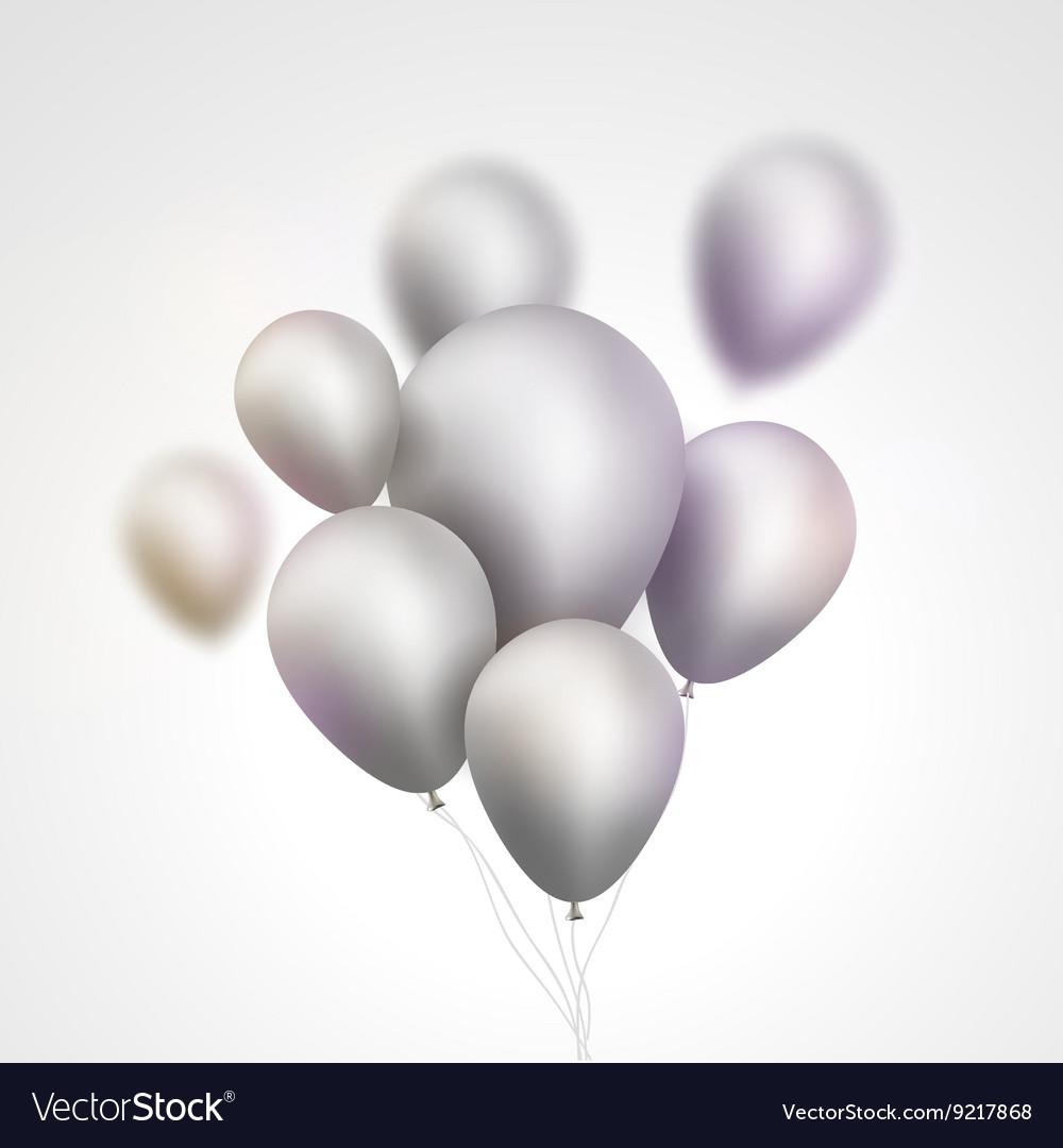 Silver Balloons bunch Set of festive silver gray