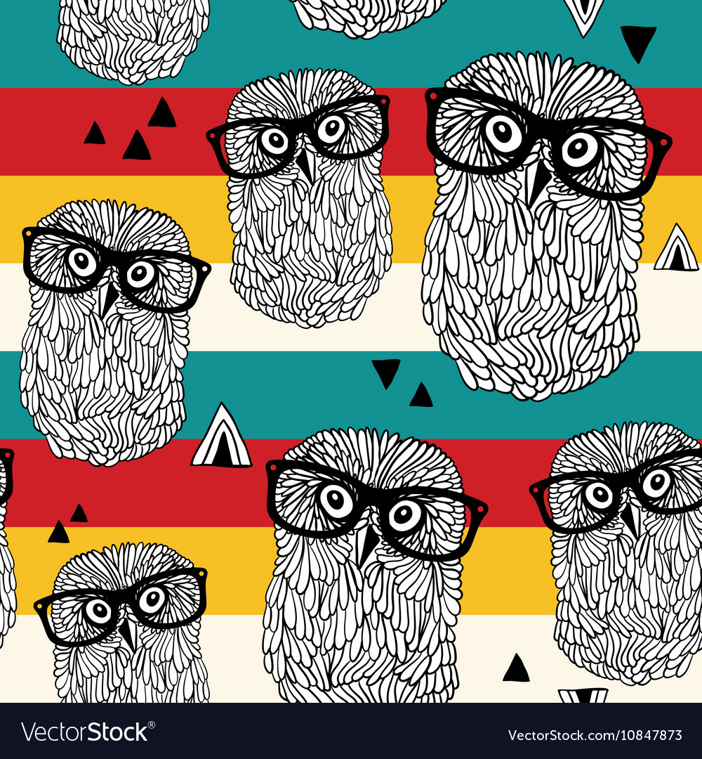 Dancing owls on disco party seamless pattern