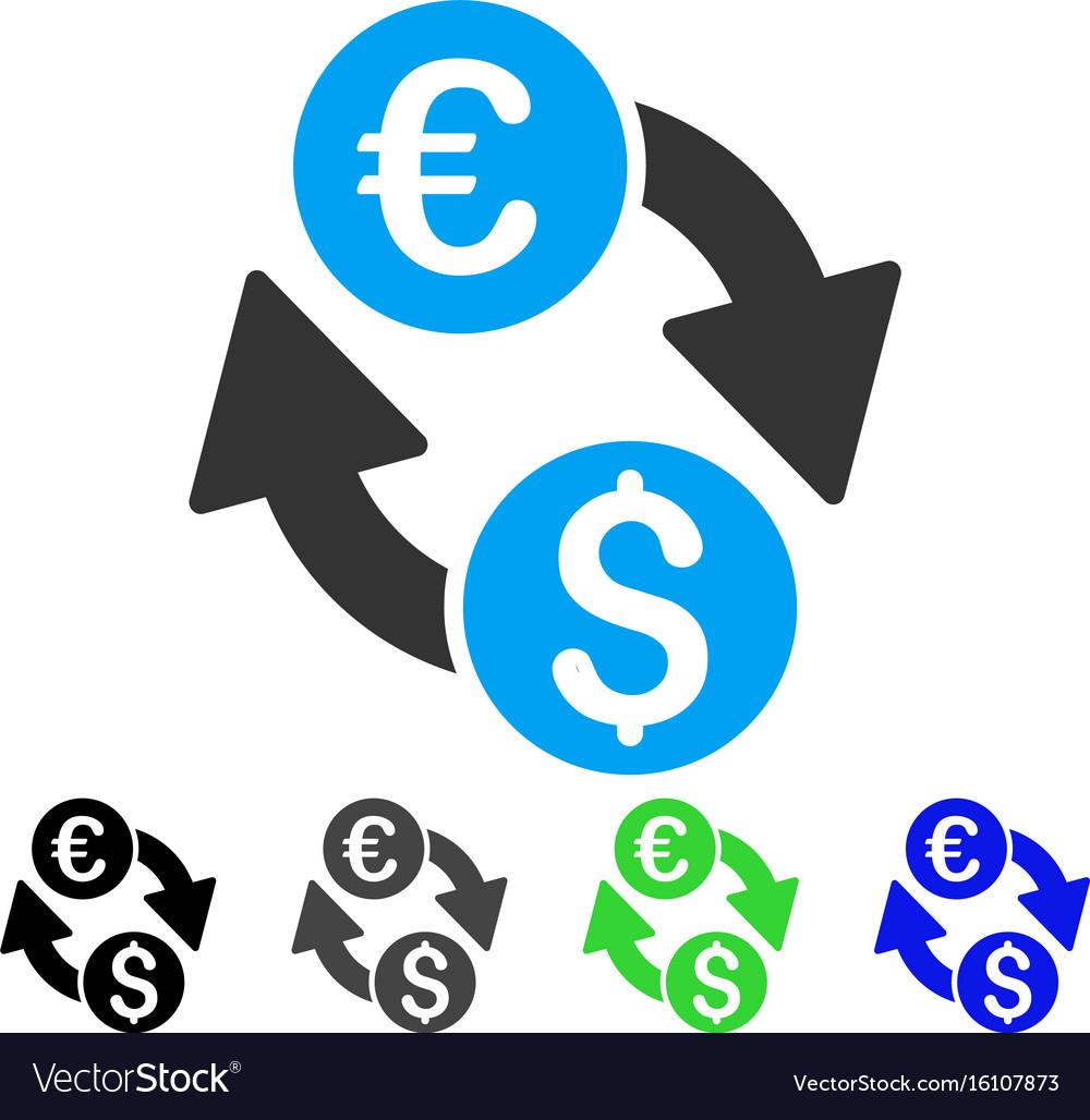 Euro Money Exchange Flat Icon Vector Image