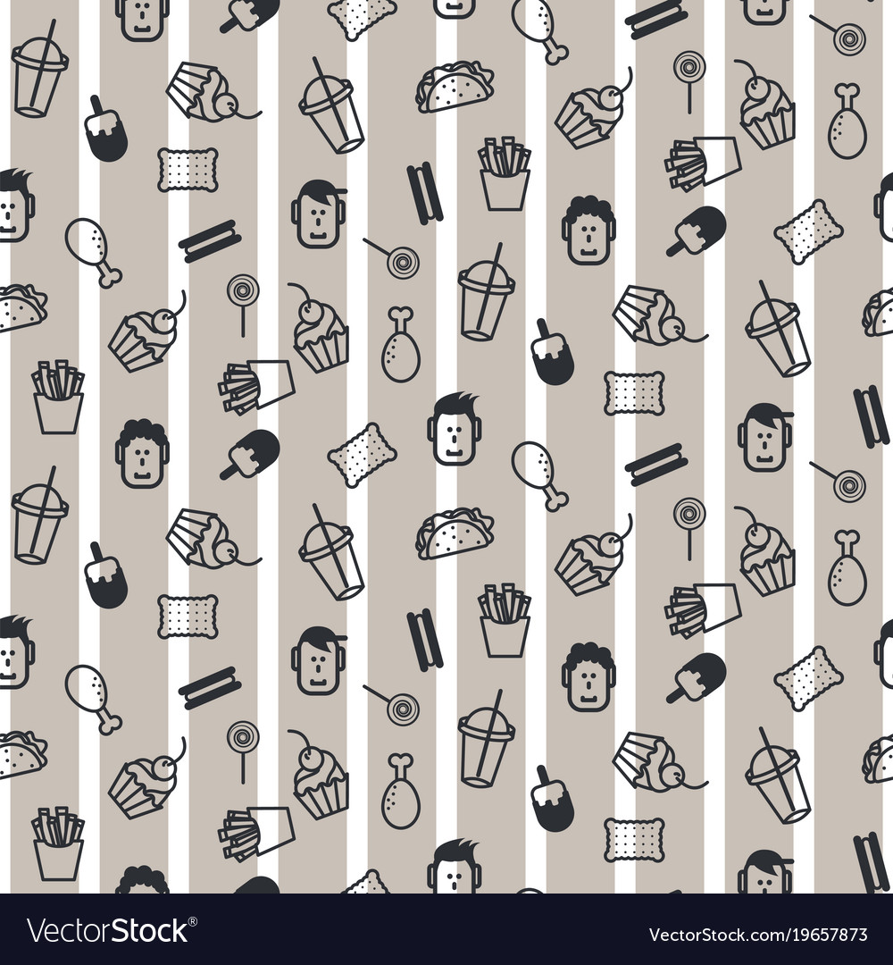 Fast food icon style seamless pattern