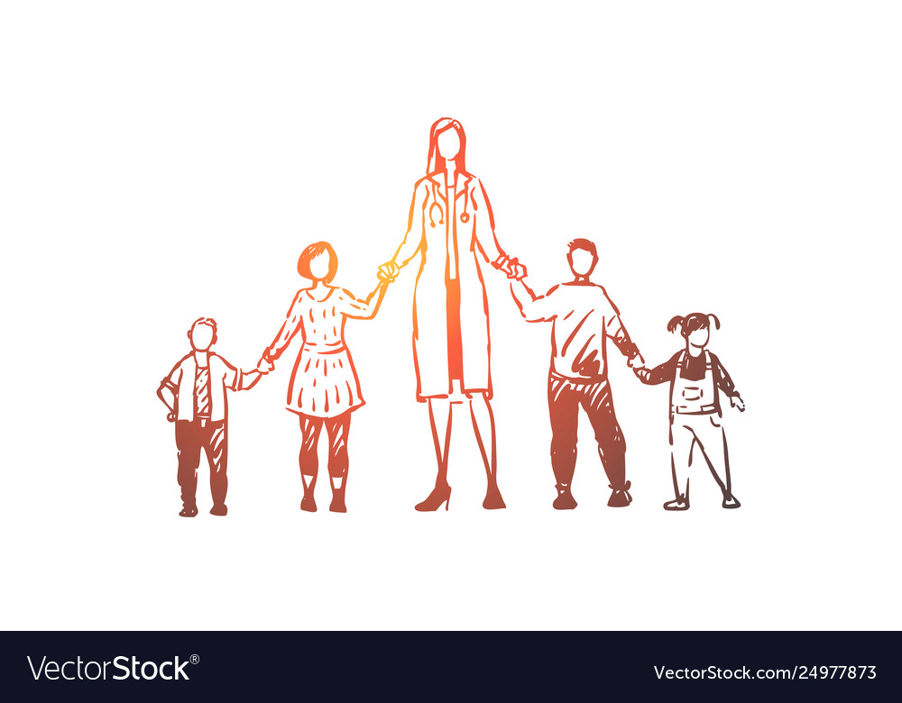 Female pediatrician boys and girls holding hands