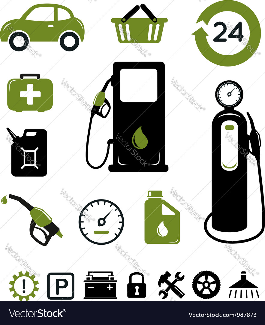Gasoline station icons set vector