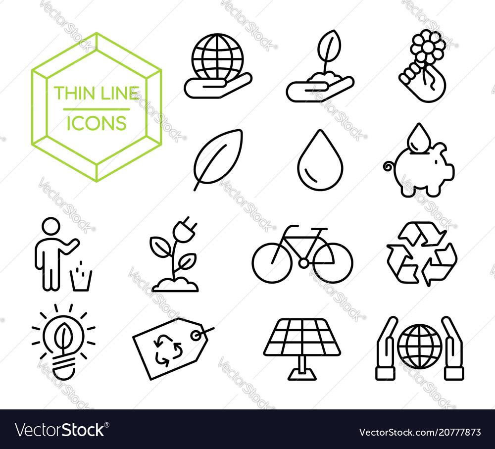 Green eco friendly environment thin line icon set vector image