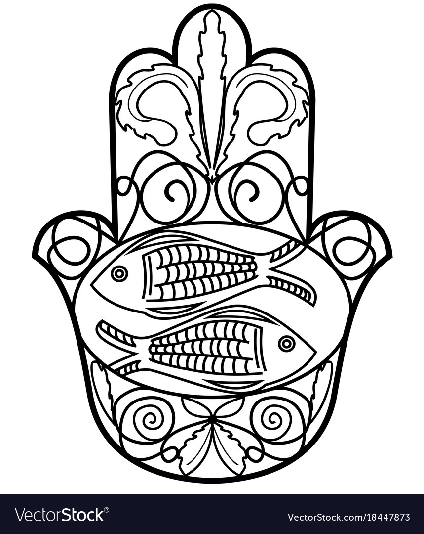 Hamsa Miriam Hand Symbol With Floral Ornament And Vector Image