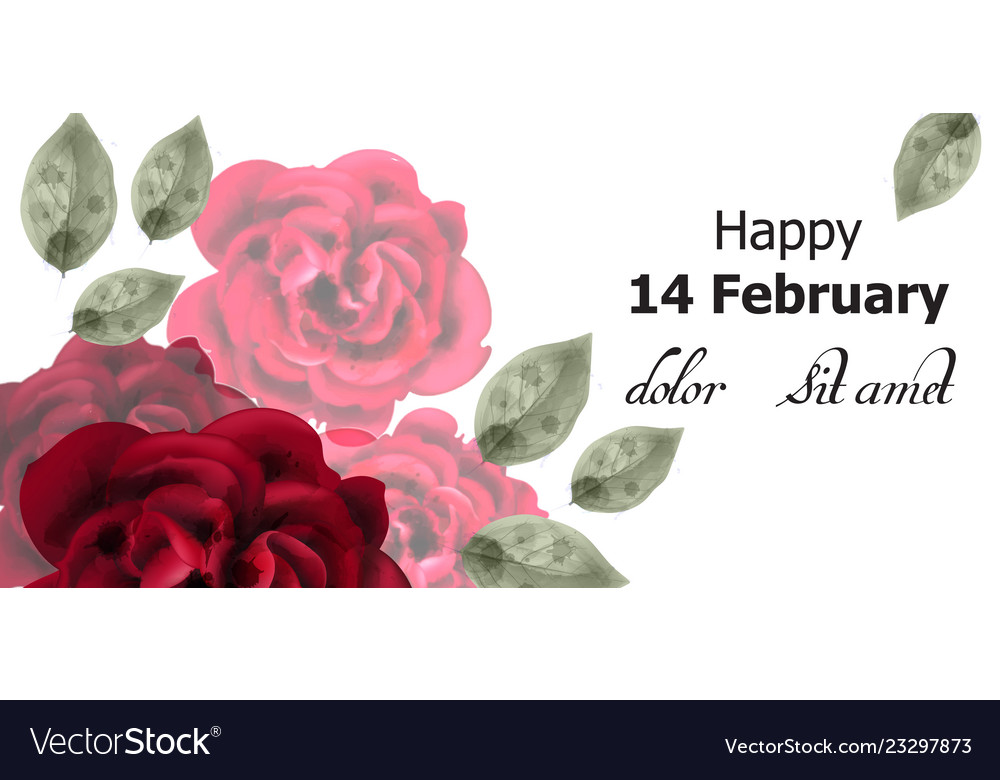 Happy valentines day card red roses watercolor
