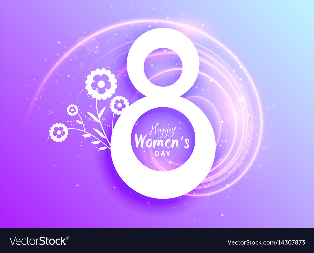 Happy womans day celebration greeting with flower vector image