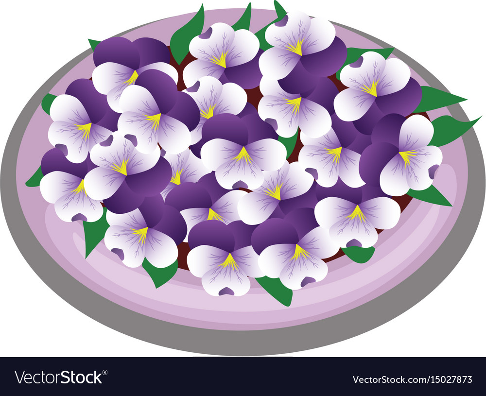 Isometric cartoon flower bush bed with peony vector image